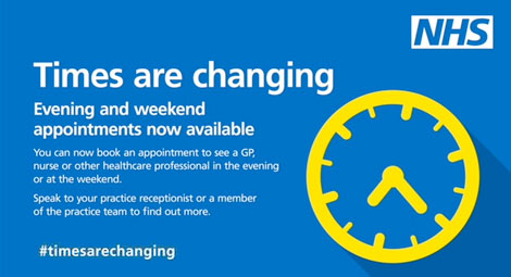 Times are changing. Evening and Weekend appointments now available.